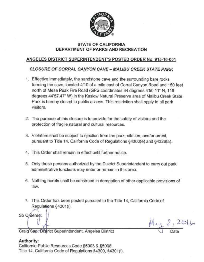 Corral Canyon Cave Closure Paper All Things Malibu
